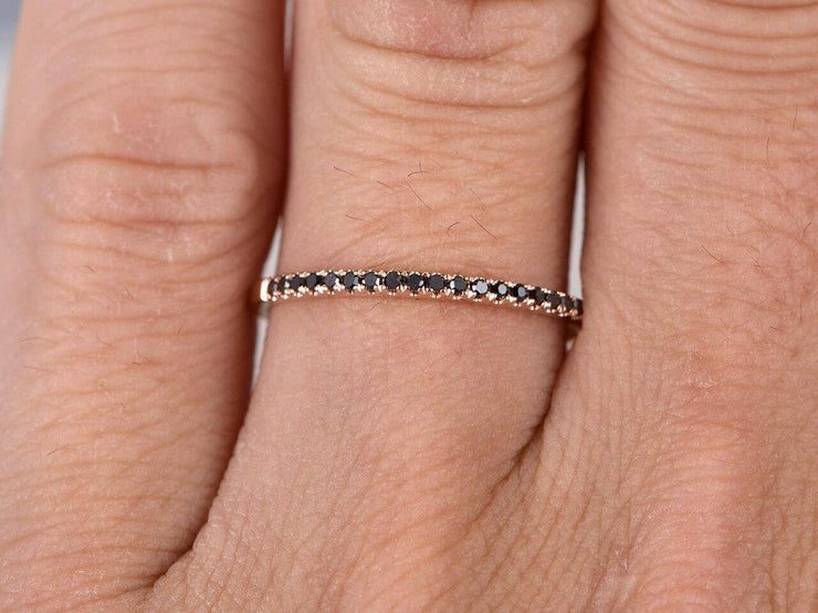 0.25 Carat Classic Black Diamond Wedding Ring Wedding Band on 10k Rose Gold