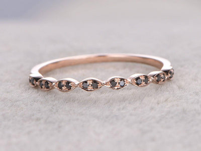 0.25 Carat Art Deco Style Black Diamond Wedding Ring Wedding Band on 10k Rose Gold