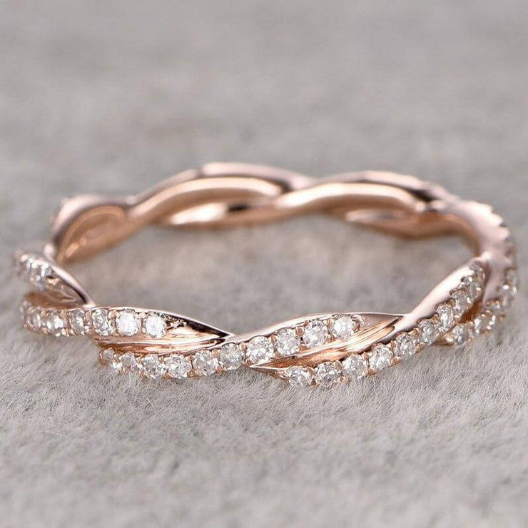 0.50 Carat 10k Rose Gold Anniversary Ring Band with Diamonds Stackable Twisted Band