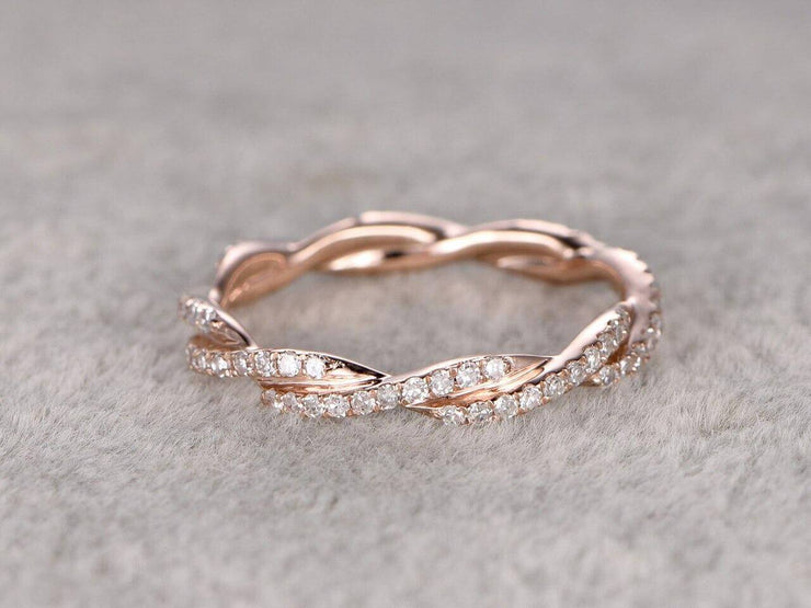 0.50 Carat ring Anniversary Ring Band with Diamonds Stackable Twisted Band