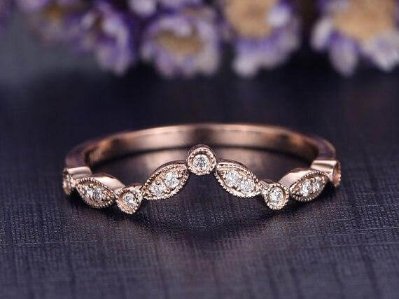 0.25 Carat 10k Rose Gold Wedding Band with Diamonds Anniversary Ring Antique Flower V Design Antique Style Band