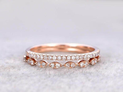 0.50 Carat 2 pcs Stacking Curved Design art deco wedding band anniversary Ring Silver 18k Rose Gold Plating set