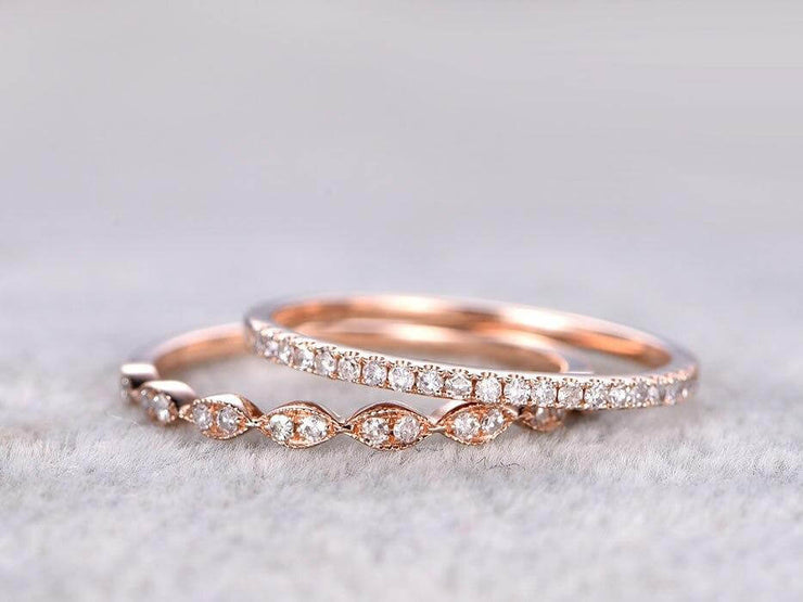 0.50 Carat 2 pcs Diamond Wedding Ring Set Stacking Curved Design art deco wedding band anniversary Ring set
