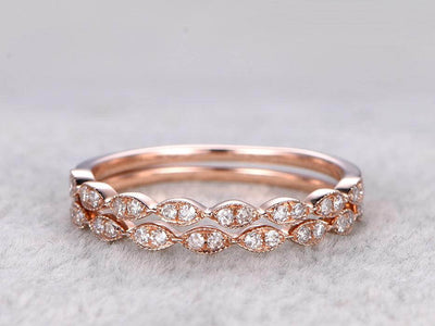 0.50 Carat 2 pcs Diamond Wedding Ring Set Stacking Art Deco wedding band anniversary Ring set 10k Rose Gold