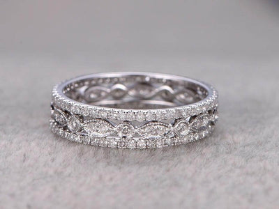 1.50 Carat 3 wedding Ring set Wedding Band Stackable Ring set 10k White Gold Anniversary Ring Bridal Ring
