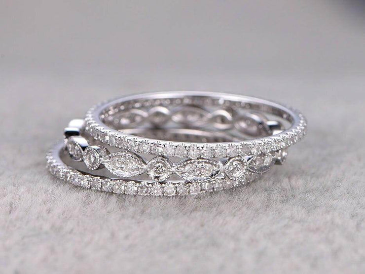 1.50 Carat 3 wedding Ring set Wedding Band Stackable Ring set Anniversary Ring Bridal Ring