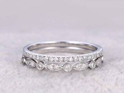 0.5 Carat 2 pcs Diamond Wedding Ring Set Stacking art deco wedding band Ring set 10k Wihte Gold