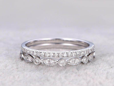 0.5 Carat 2 pcs Diamond Wedding Ring Set Stacking art deco wedding band Ring set