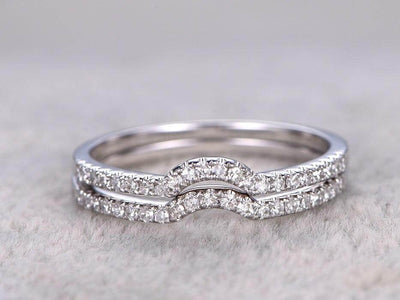 0.5 Carat 2 pcs Diamond Wedding Ring Set Stacking Curved art deco wedding band Ring set 10k Wihte Gold