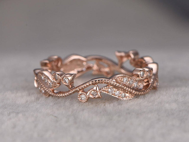0.50 Carat Diamond Wedding Ring Solid 10k Rose Gold Full Eternity Milgrain Floral Anniversary ring