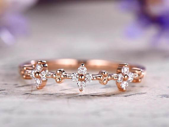 0.50 Carat Diamond Wedding Ring Solid 10k Rose Gold Half Eternity Milgrain Floral Anniversary ring Promise Ring