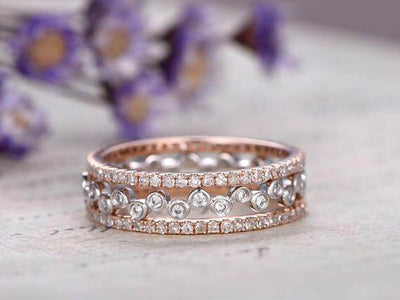 1.50 Carat Real Natural Diaomnds 10k Solid Gold 3 wedding Ring set Straight Wedding Band Stackable Ring set