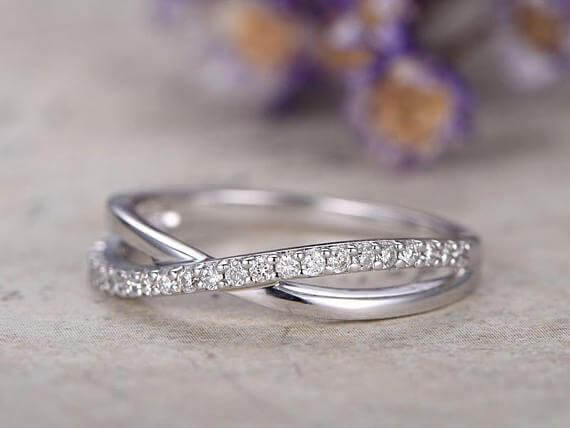 Diamond Wedding Bands women half Eternity solid 10k white gold Engagement Ring stacking matching band loop curved