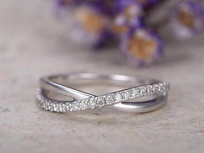 Diamond Wedding Bands women half Eternity Engagement Ring stacking matching band loop curved