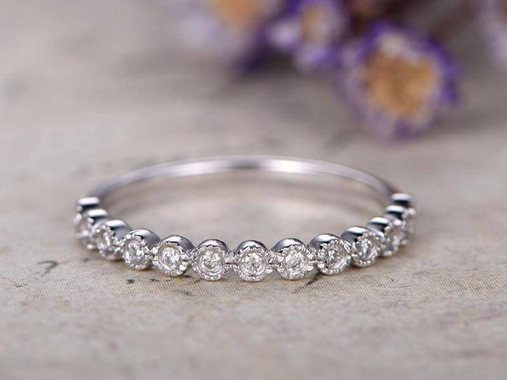 Diamond Wedding Bands women half Eternity Ring Engagement Ring stacking matching band Handmade Fine Ring