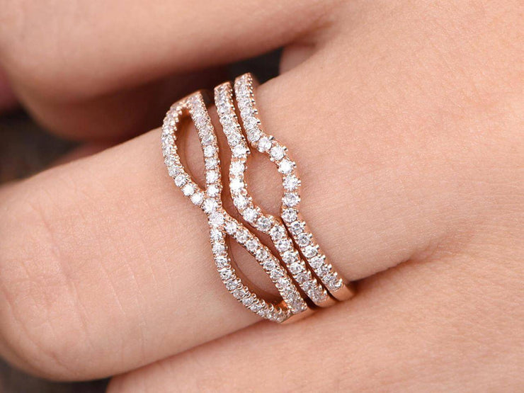 3 bridal ring set half eternity matching band split shank band curved U diamond wedding bands solid 10K rose gold