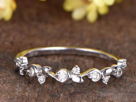 0.50 Moissanite wedding band half eternity band floral band anniversary ring Deco stacking band