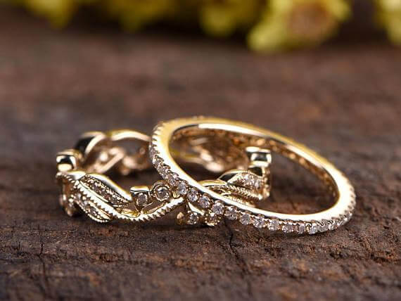 Antique Floral Diamond wedding band set 2 bridal rings diamond ring setfloral bridal set promise ring anniversary rings