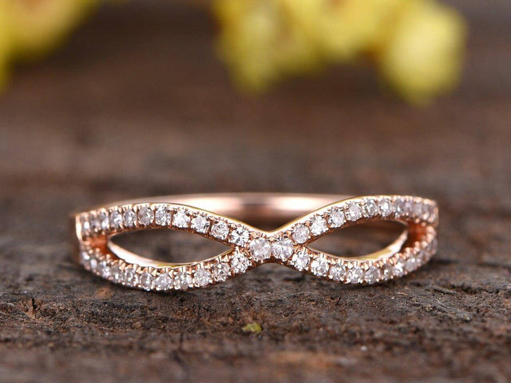 Diamond Wedding Band Curved Infinity Loop Solid 10k Rose Gold 0.50 Carat Real Natural Diamonds