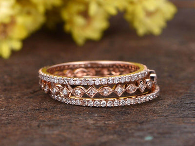 1.50 Carat 3 wedding Ring set Wedding Band Stackable Ring set Solid 10k Rose Gold
