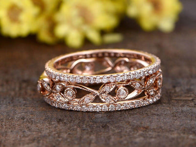 1.50 Carat 3 wedding Ring set Wedding Band Stackable Ring set Solid 10k Rose Gold Vintage Flower