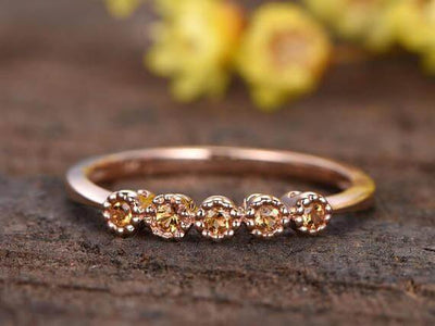 0.25 Carat Citrine Floral Wedding band bridal ring stacking matching band promise ring
