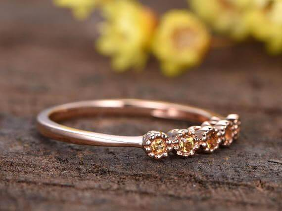 0.25 Carat Citrine Floral Wedding band Solid 10k rose gold bridal ring stacking matching bandpromise ring