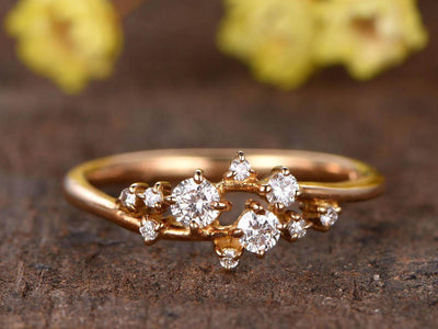 0.40 Carat Diamond Wedding Band engagement ring Stackable ring Deco floral ring Solid 10k Rose Gold