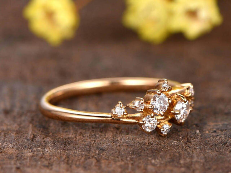0.40 Carat Diamond Wedding Band engagement ring Stackable ring Deco floral ring