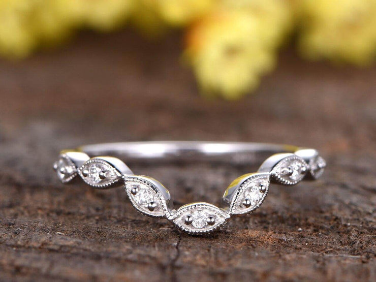 0.25 Carat Solid 10k White Gold Wedding Band with Diamonds Anniversary Ring Half Eternity Band Marquise Style