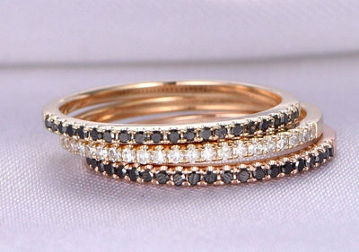 1.00 Carat 3 Wedding rings set Black and White diamonds wedding ring Solid 10k Rose gold