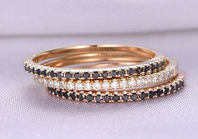 1.00 Carat 3 Wedding rings set Black and White diamonds wedding ring