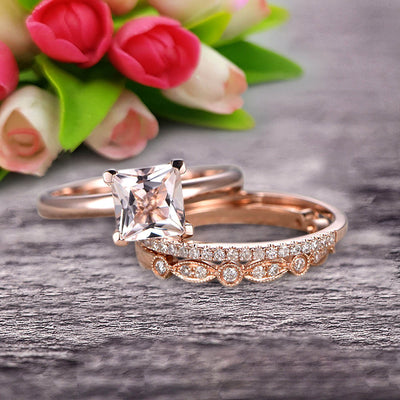 Trio Set 1.50 Carat Princess Cut Morganite Wedding Set Engagement Ring Anniversary Ring On 10k Rose Gold Art Deco With Matching Band Shining Startling Ring