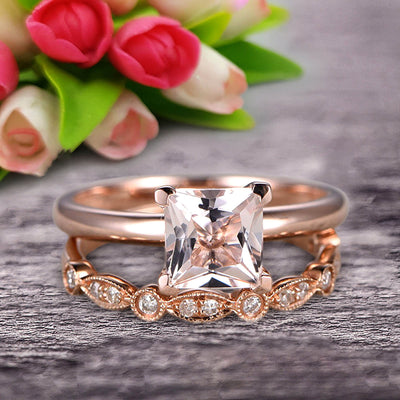 Bridal Set 1.25 Carat Princess Cut Morganite Solitaire Engagement Ring With Matching Wedding Band On 10k Rose Gold Art Deco Shining Startling Ring