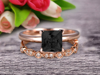Bridal Set 1.25 Carat Princess Cut Black Diamond Moissanite Solitaire Engagement Ring With Matching Wedding Band On 10k Rose Gold Art Deco Shining Startling Ring