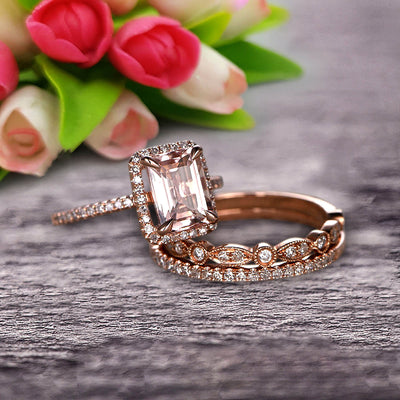 Milgrain 2 Carat Emerald Cut Morganite Wedding Set Engagement Ring 10k Rose Gold Art Deco Two Matching Band Anniversary Gift Glaring Staggering Ring