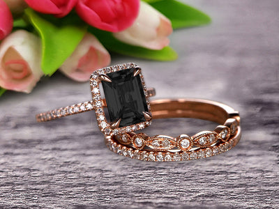 Milgrain 2 Carat Emerald Cut Black Diamond Moissanite Wedding Set Engagement Ring 10k Rose Gold Art Deco Two Matching Band Anniversary Gift Glaring Staggering Ring