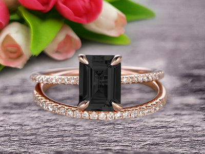 Bridal Ring 1.50 Carat Emerald Cut Black Diamond Moissanite Wedding Set Engagement Ring On 10k Rose Gold Anniversary Gift Glaring Staggering Ring