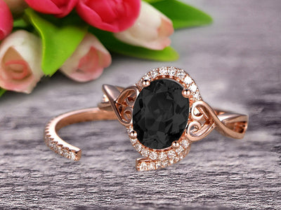 Art Deco 1.50 Carat Oval Cut Black Diamond Moissanite Engagement Ring Wedding Set On 10k Rose Gold Shining Startling Ring Anniversary Gift