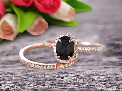 Bridal Set Oval Cut Gemstone 1.75 Carat  Black Diamond Moissanite Engagement Ring Wedding Ring On 10k Rose Gold Anniversary Gift Glaring Staggering Ring