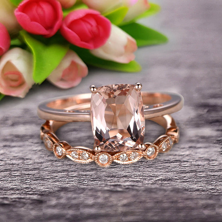 1.25 Carat Cushion Cut Morganite Solitaire Engagement Ring With Matching Band On 10k Rose Gold Art Deco Shining Startling Ring Anniversary Gift