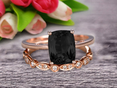 1.25 Carat Cushion Cut Black Diamond Moissanite Solitaire Engagement Ring With Matching Band On 10k Rose Gold Art Deco Shining Startling Ring Anniversary Gift