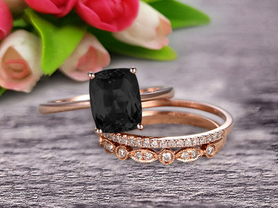 Trio Set Art Deco 1.50 Carat Cushion Cut Black Diamond Moissanite Engagement Ring Wedding Set On 10k Rose Gold Shining Startling Ring Anniversary Gift