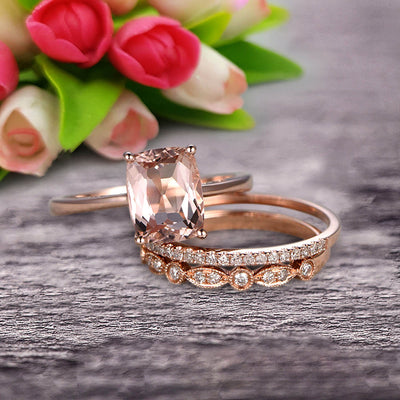 Trio Set Art Deco 1.50 Carat Cushion Cut Morganite Engagement Ring Wedding Set On 10k Rose Gold Shining Startling Ring Anniversary Gift