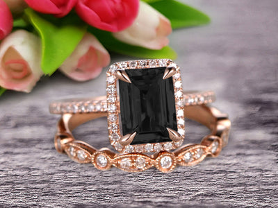 Milgrain Art Deco 1.75 Carat Emerald Cut Black Diamond Moissanite Wedding Set Engagement Ring Anniversary 10k Rose Gold Claw Prongs Eternity Matching Band