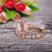 Milgrain Art Deco 1.75 Carat Emerald Cut Morganite Wedding Set Engagement Ring Anniversary 10k Rose Gold Claw Prongs Eternity Matching Band