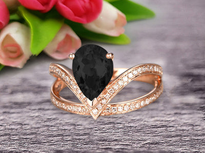Pear Shape 1.50 Carat Black Diamond Moissanite Engagement Ring Wedding Ring Anniversary Ring On 10k Rose Gold Curved V Split Shank Band Glaring Staggering Ring
