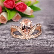 Pear Shape 1.50 Carat Morganite Engagement Ring Wedding Ring Anniversary Ring On 10k Rose Gold Curved V Split Shank Band Glaring Staggering Ring