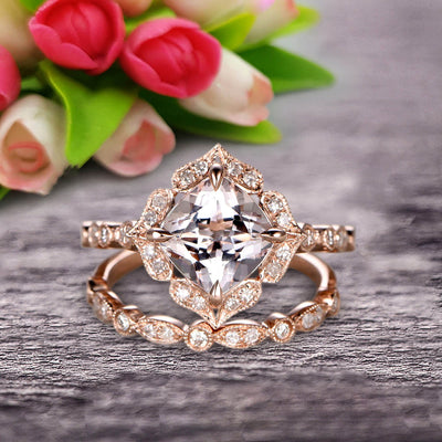 Milgrain Cushion Cut Morganite Wedding Set Bridal Set Engagement Ring 10k Rose Gold Vintage Look Glaring Staggering Ring