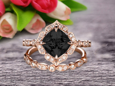 Milgrain Cushion Cut Black Diamond Moissanite Wedding Set Bridal Set Engagement Ring 10k Rose Gold Vintage Look Glaring Staggering Ring